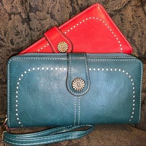 Handbags - Large leather wallets with wristlet attachment